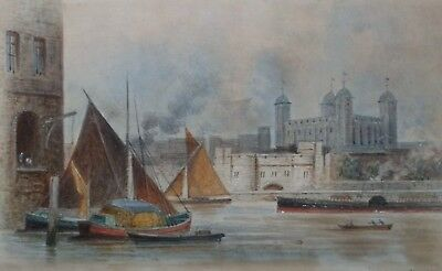 ED 1889 Signed Edwin Thomas Dolby Antique Watercolour Painting Tower of London