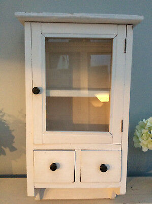 French style shabby chic small wall cabinet cream with glass door & two drawers