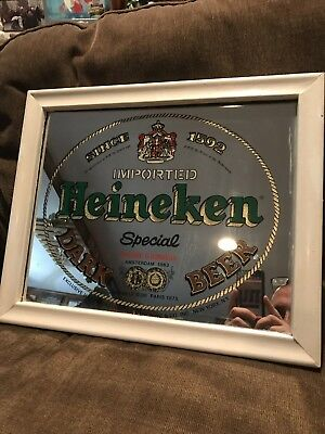 Vintage Heineken Dark Lager Beer Advertising Bar Mirror Sign Nice Cond 17x15""