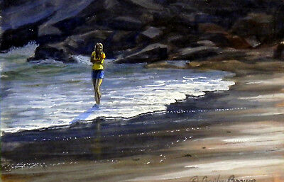 Wading at Sand Beach - painting by D. Crosby Brown