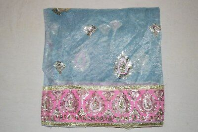 Rare Floral Dgn Indian Wedding Dupatta Scarf Sequins Embroidery Georgette Veil L