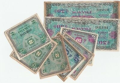 France WWII Military Payment Certificate 2 5 10 50 Francs Series 1944 Lot of 8