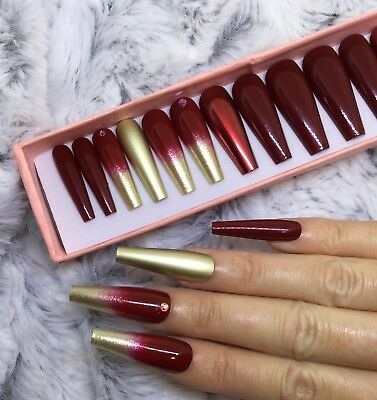 Red Gold Ombre Chrome Christmas False Fake Extra Long Ballerina Nails Set