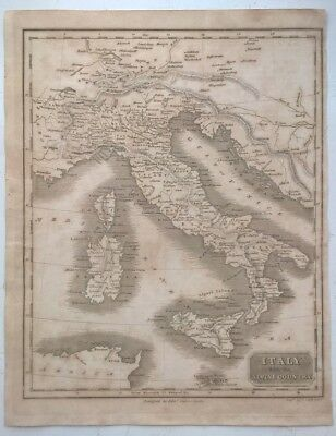 E Baines Antique Map of Italy & Alpines, Engraved by T Clerk, Early 19th Century