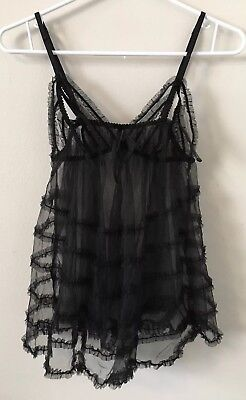 Victoria's Secret Size L Sheer Babydoll Black Ruffle Lingerie Top W/ Bow