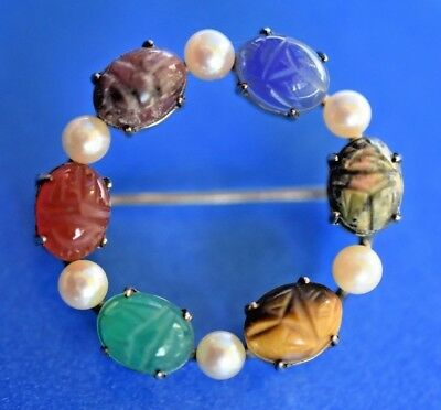 VTG Egyptian Revival Jade Pearl SCARAB Beetle Signed Circle Wreath Brooch Pin
