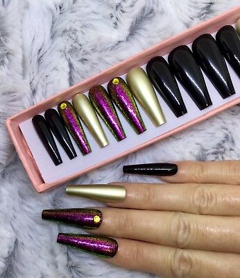 Black Gold Dazzle Chrome False Fake Extra Long Ballerina Nails Set