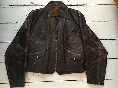 Vintage late 40's early 50's brown leather motorcycle jacket, size M