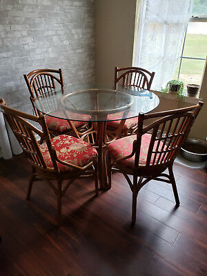 VINTAGE BAMBOO/RATTAN TABLE AND CHAIR SET - Brown/Ladder Back Style Chairs
