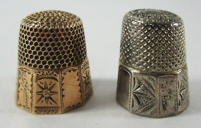 Vintage Sewing Thimbles Gold Silver Tone Metal Engraved Estate Find Lot of (2)
