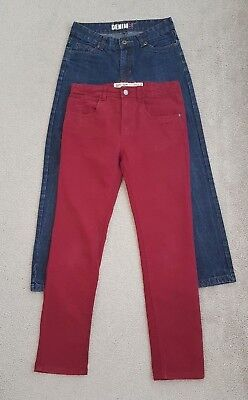 2 pairs of boys slim/ straight fit jeans in age 12-13 years 1 burgundy 1 blue