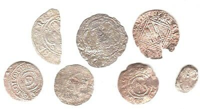 (LOT of 7) SILVER & BILLON  MEDIEVAL COIN's  1200-1600's   .   FREE SHIPPING