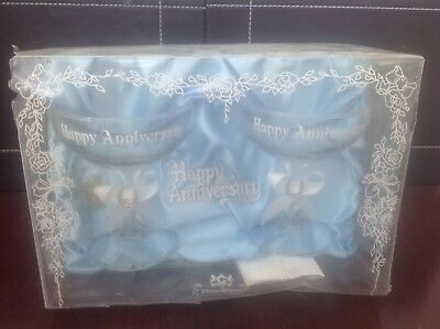 Vintage - A Boxed Pair of Happy Anniversary Champaign Glasses