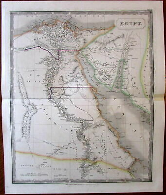 Egypt Africa c.1829 S. Hall large engraved hand color map Mt. Sinai peninsula