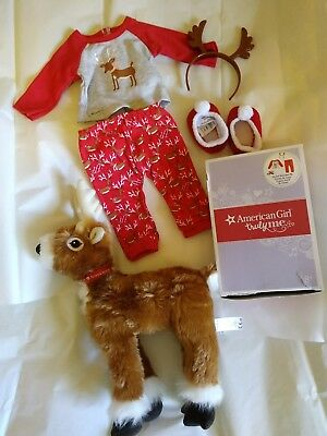 LOT of American Girl Festive Reindeer Pjs~Pajama set AND Reindeer plush EUC!