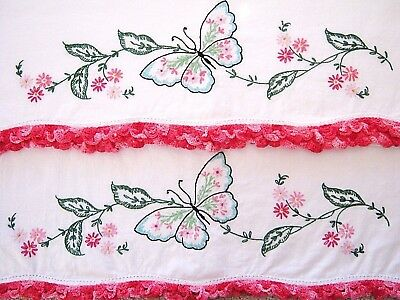 Vintage Pair Hand Embroidered Pillowcase Set Butterfly & Flowers w Crochet Edge