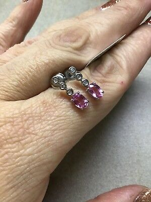 AAAA 1.10 Pink Sapphire Earrings In Platinum 950 With VS E-F Diamonds