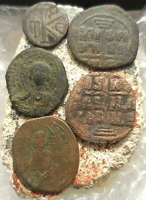 Fine + to VF+ Lot of Five Ancient Byzantine Coins, Largest 30 mm, Jesus Christ!