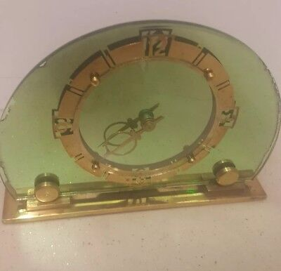 1930's ART DECO SMITHS 8 DAY MIRRORED  CLOCK GREEN GLASS/  BRASS