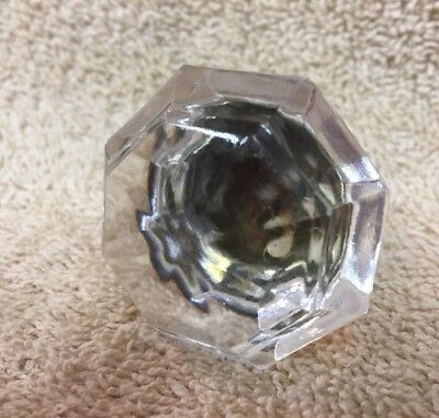 Antique/Vintage 8 Sided Clear Glass Door Drawer Cabinet Knob Pull 1 3/4""