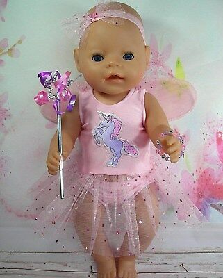 "Dolls clothes for 17"" Baby Born doll~STANDING UNICORN~PINK FAIRY WING DRESS SET"