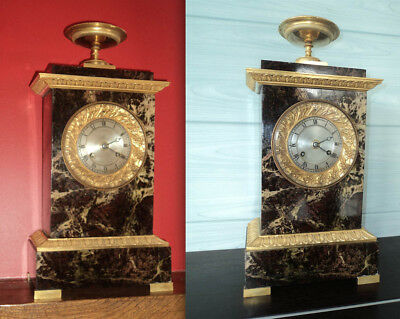 PENDULE BORNE ANCIENNE a fil en MARBRE et BRONZE style RESTAURATION EMPIRE
