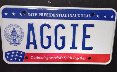 2001 District Of Columbia Texas A & M Aggie Inaugural Inauguration License Plate