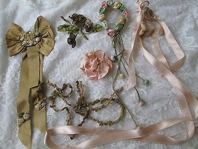 Lot of Antique Ribbonwork Roses Trim French Ombre Silk Flowers Millinery Dress