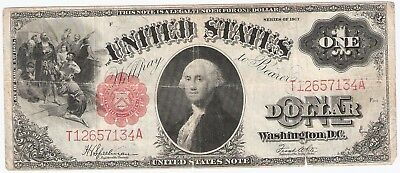 1917 $1 One Dollar Bill United States Red Seal Large Note