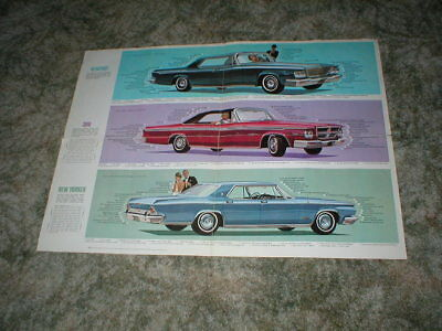 1964 CHRYSLER BROCHURE FOLDOUT; Newport New Yorker  300 model  vintage