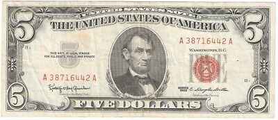 1963 Five Dollar $5 Red Seal Vintage Old American Currency Note Very Nice