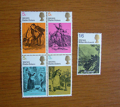 Sg. 824 - 828  Gb Stamps Literary Anniversaries 1970  Mnh