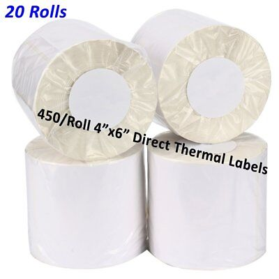 20 Rolls 450/Roll Direct Thermal Labels 4x6 For Zebra 2844 Etron ZP-450 LP2844