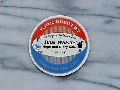 York Final Whistle real ale beer pump clip sign 2004 European Cup Brew