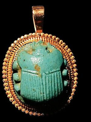Antique Egyptian Large Scarab Pendant Hand-Set In 14K Yellow Gold Filigree