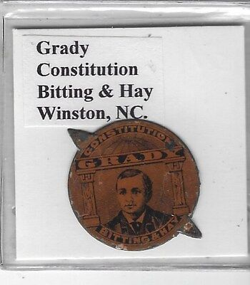 Tobacco Tag Bitting & Hay Co. Winston, NC. Grady Constitution