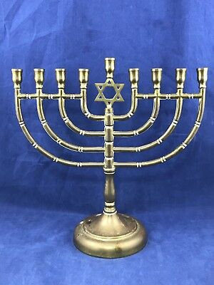 Vintage Solid Brass Hanukkah Menorah With Star Of David 9 Inches