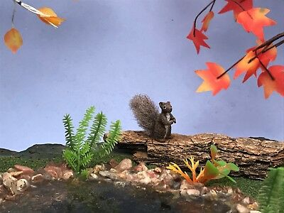 Miniature OOAK Handmade 1:12 Scale Squirrel Sculpture Dollhouse Furred Animal