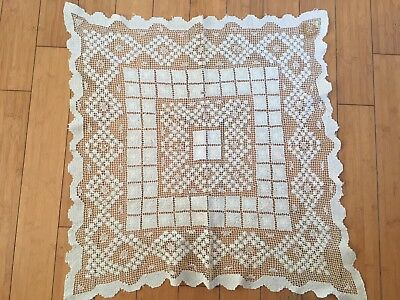 "Vtg Crocheted Lace Small End Table Cloth Cover Doily Offwhite   26"" Square"