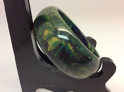 Chunky Awesome Vintage Marbled Green & gold Bakelite?  Bangle Bracelet