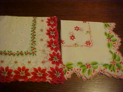 Vintage Pr. Christmas Hankies - Holly & Poinsettia