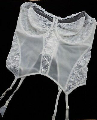 Vintage Berlei White Basqe with Suspenders Size 36F