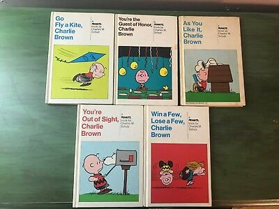 LOT of 5 Vintage Charlie Brown PEANUTS Hardcover Books By Charles Schulz 1960-74