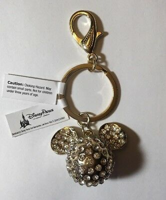 Disney Parks Mickey Mouse Icon Gold Tone Gems Metal Keychain