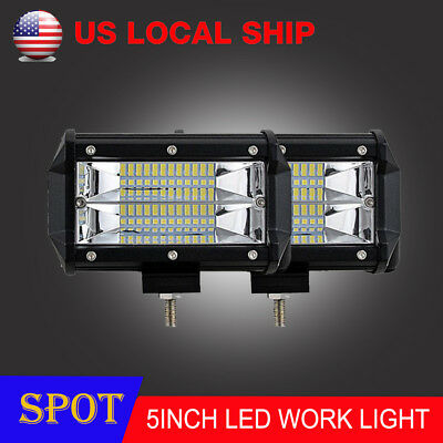 Pair 72W Spot LED Light Work Bar Lamp Driving Fog Offroad SUV 4WD ATV Boat Truck