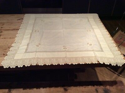 Small Vintage Small Embroidered Tablecloth 83cm