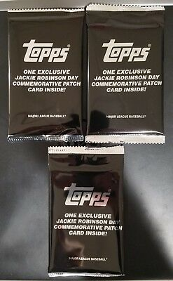 Lot 3x - 2018 TOPPS UPDATE JACKIE ROBINSON COMMEMORATIVE PATCH PACKS Blaster Qty