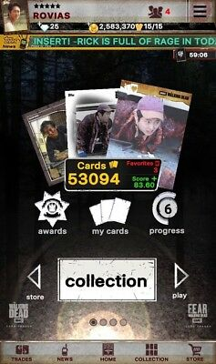 Topp The Walking Dead Digital Trader Cards. All cards for sale!!
