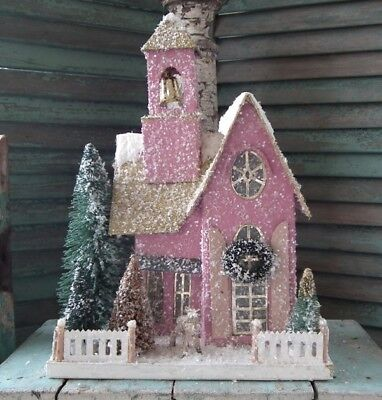 Cody Foster LARGE Putz ~FROSTED PINK ADOBE~ CHURCH ~ Brand New!