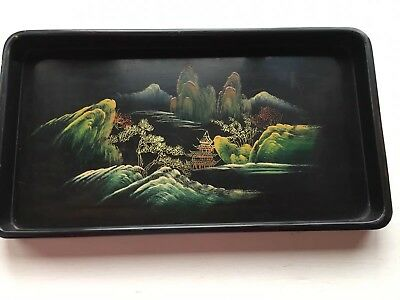 Vintage Chinese Black Lacquer-Ware Tray Hand-painted